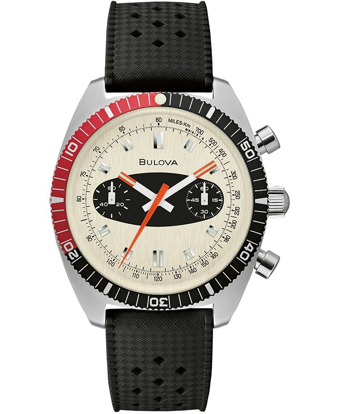 Bulova - Men's Chronograph Archive Surfboard Black Silicone Strap Watch 40.5mm