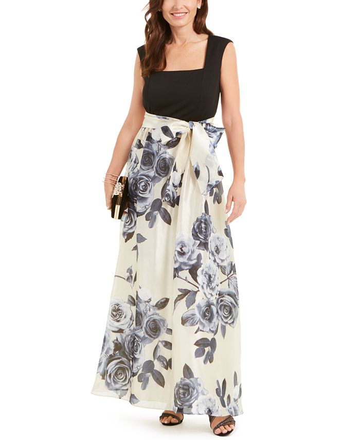 R & M Richards - Belted Floral-Skirt Gown