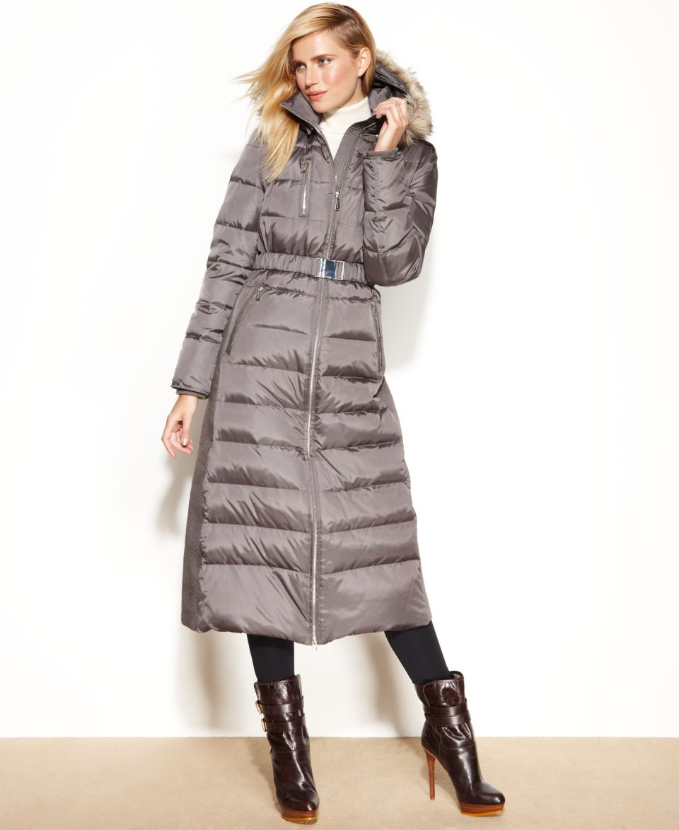 MICHAEL Michael Kors Hooded Faux Fur Trim Belted Maxi Puffer Coat   Coats   Women