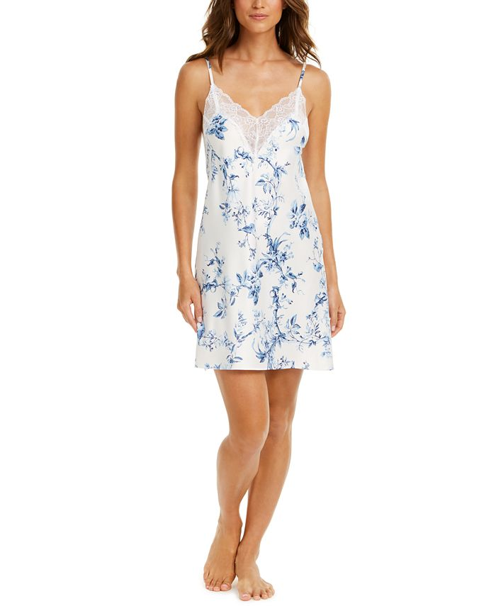 Linea Donatella - Aviary Lace-Trim Floral-Print Satin Chemise Nightgown
