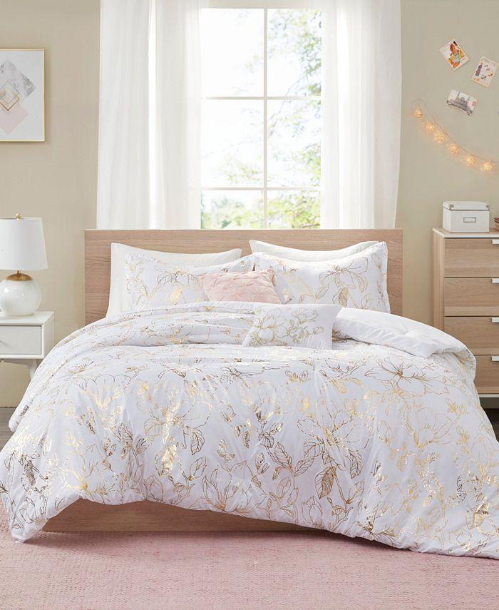 Intelligent Design - Magnolia Metallic Floral 5-Piece Full/Queen Comforter Set