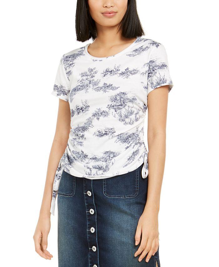 INC International Concepts - Petite Cotton Printed Tie-Hem Top