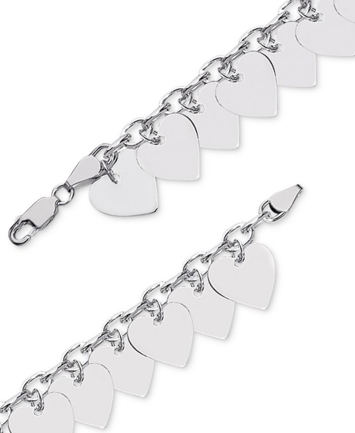 Giani Bernini Polished Heart Charm Bracelet in Sterling Silver, Created for Macy's & Reviews - Earrings - Jewelry & Watches - Macy's