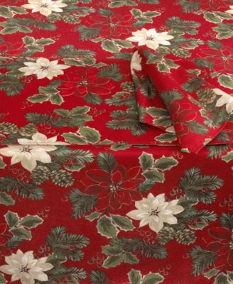 Bardwil Holiday Set of 4 Poinsettia Pine Napkins