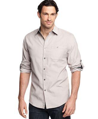 Geoffrey Beene Shirt Roll Tab Long Sleeve Pinwale