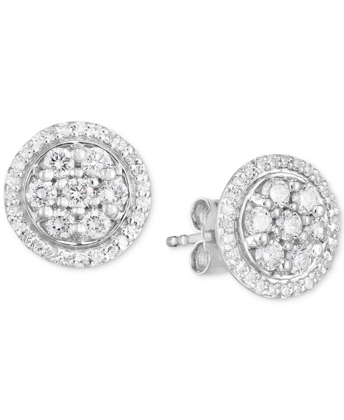 Forever Grown Diamonds Lab-Created Diamond Halo Cluster Stud Earrings (3/4 ct. t.w.) in Sterling Silver & Reviews - Bracelets - Jewelry & Watches - Macy's
