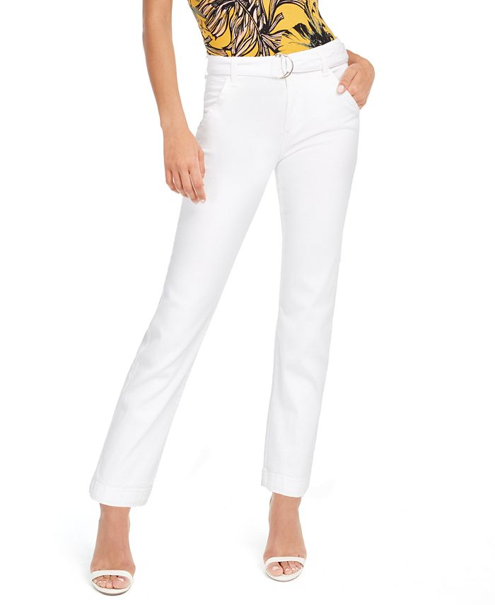 GUESS - Belted Straight-Leg Mid-Rise Pants