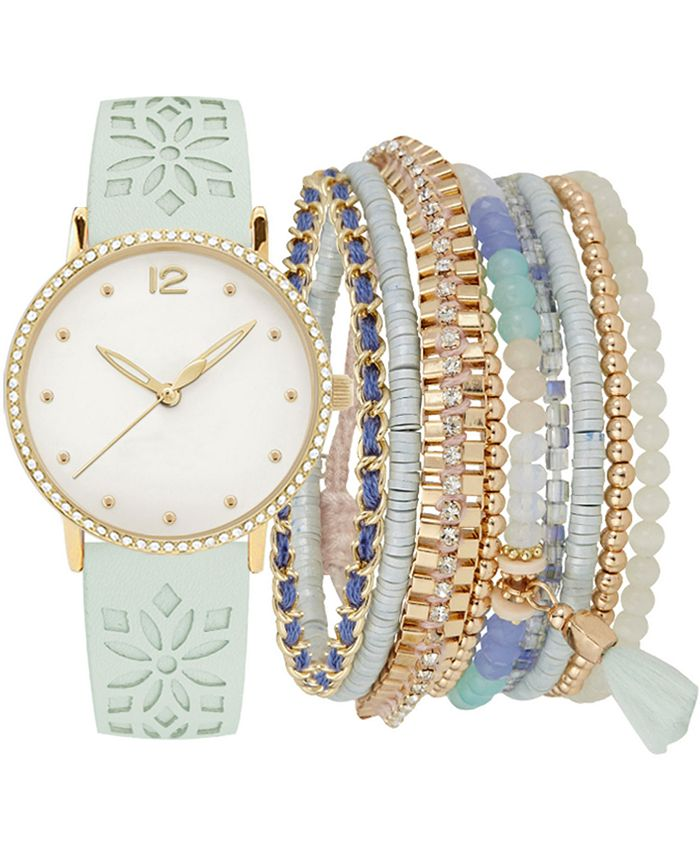 Jessica Carlyle - Women's Mint Floral Cut-Out Faux Leather Strap Watch 36mm Gift Set