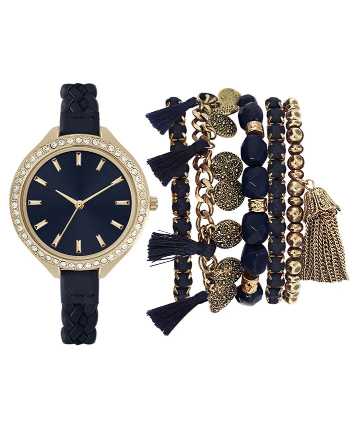 Jessica Carlyle - Women's Blue Braided Faux Leather Strap Watch 40mm Gift Set