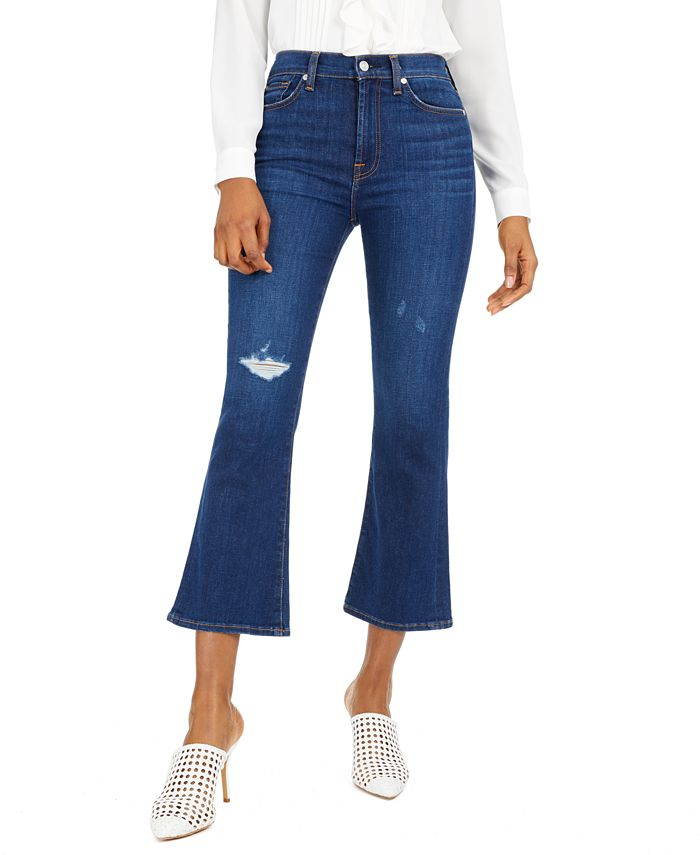 7 For All Mankind - High-Rise Ripped Slim-Kick Jeans