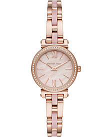 Michael Kors Women's Petite Sofie Rose Gold-Tone Stainless Steel & Blush Acetate Bracelet Watch 26mm