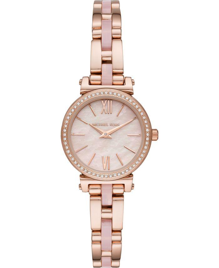 Michael Kors - Women's Petite Sofie Rose Gold-Tone Stainless Steel & Blush Acetate Bracelet Watch 26mm