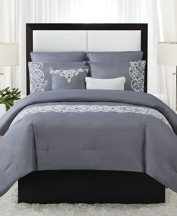 Style 212 - Julia 7-Piece Scroll Print King Comforter Set
