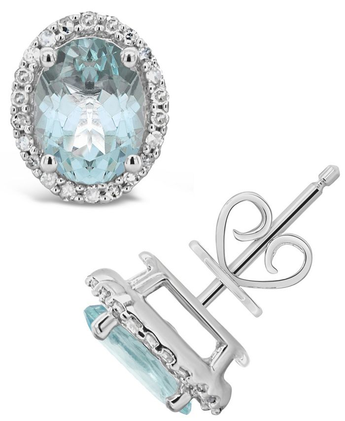 Macy's - Aquamarine (2-1/10 ct. t.w.) and Diamond (1/5 ct. t.w.) Stud Earrings in Sterling Silver