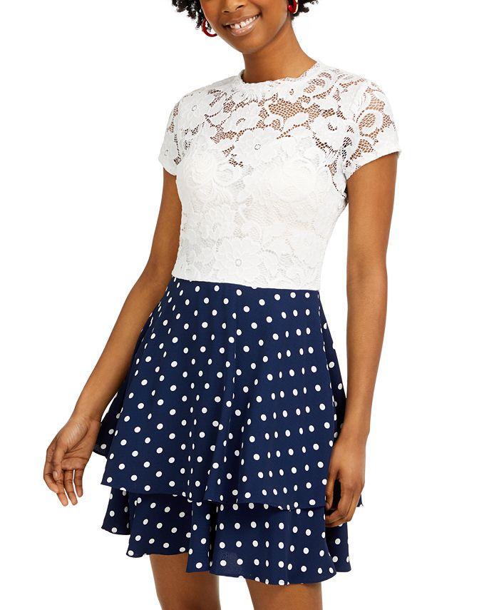 B Darlin - Juniors' Lace & Polka Dot Dress