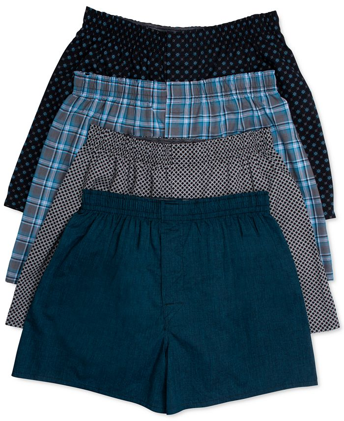 Hanes - Men's Underwear, Yarn-Dyed Plaid Woven Boxer 4 Pack