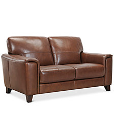 """Brayna 65"""" Leather Loveseat, Created for Macy's"""