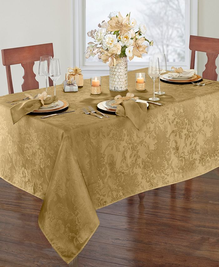 Elrene - Poinsettia  Jacquard Holiday Tablecloth