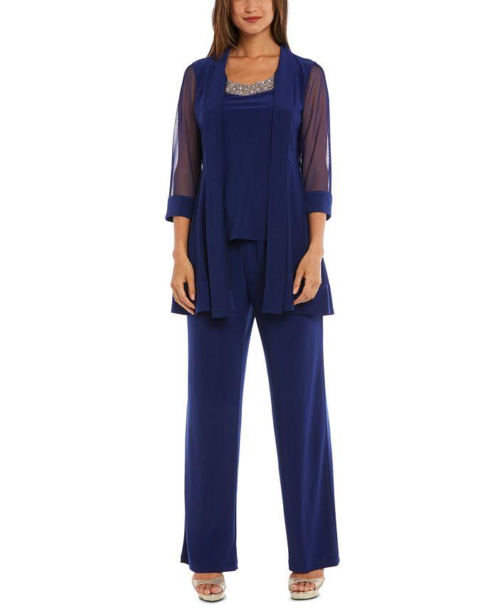 R & M Richards - Embellished Layered-Look Pantsuit