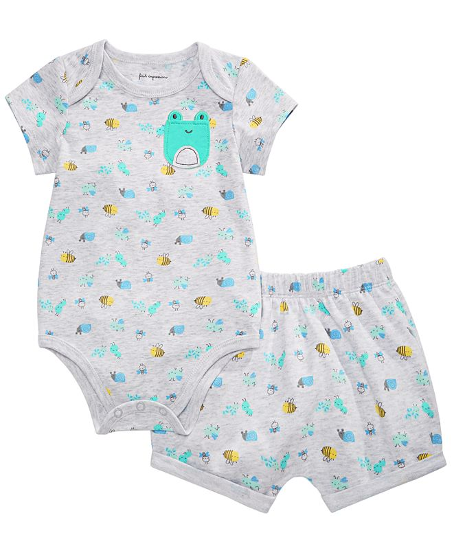 First Impressions Baby Boys Frog Printed Bodysuit & Bloomer Shorts Separates, Created for Macy's