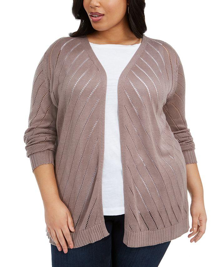 Belldini - Plus Size Diagonal-Striped Cardigan