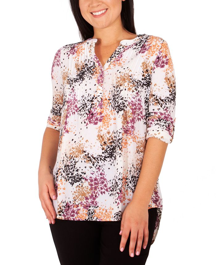 NY Collection - Petite Printed Pleat-Front Utility Top