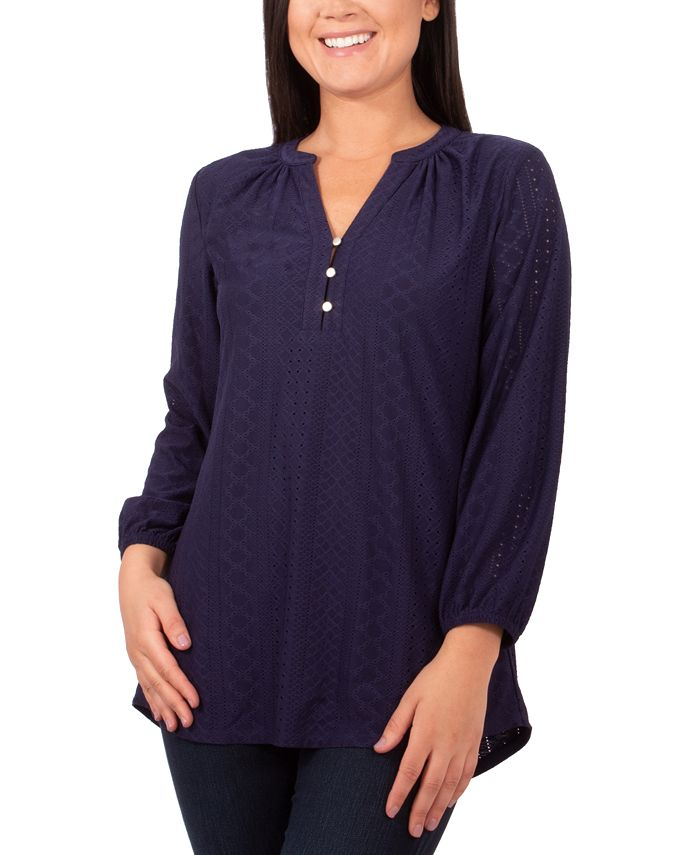 NY Collection - Petite Y-Neck Eyelet Top