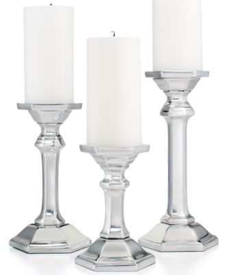 CLOSEOUT! Martha Stewart Collection Candle Holders, Set of 3 Metal Pillars