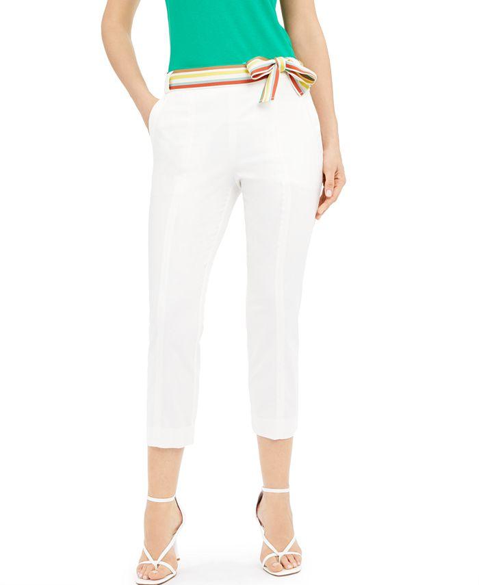 Marella - Striped-Belt Ankle Pants