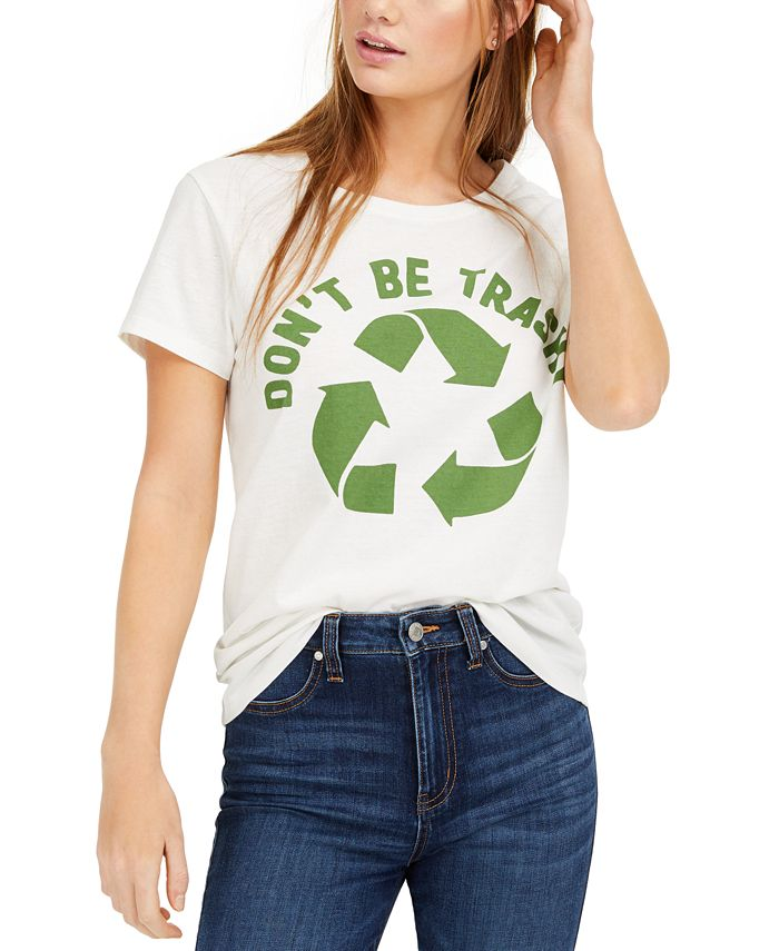 Hybrid - Juniors' Don't Be Trashy Recycle Graphic T-Shirt