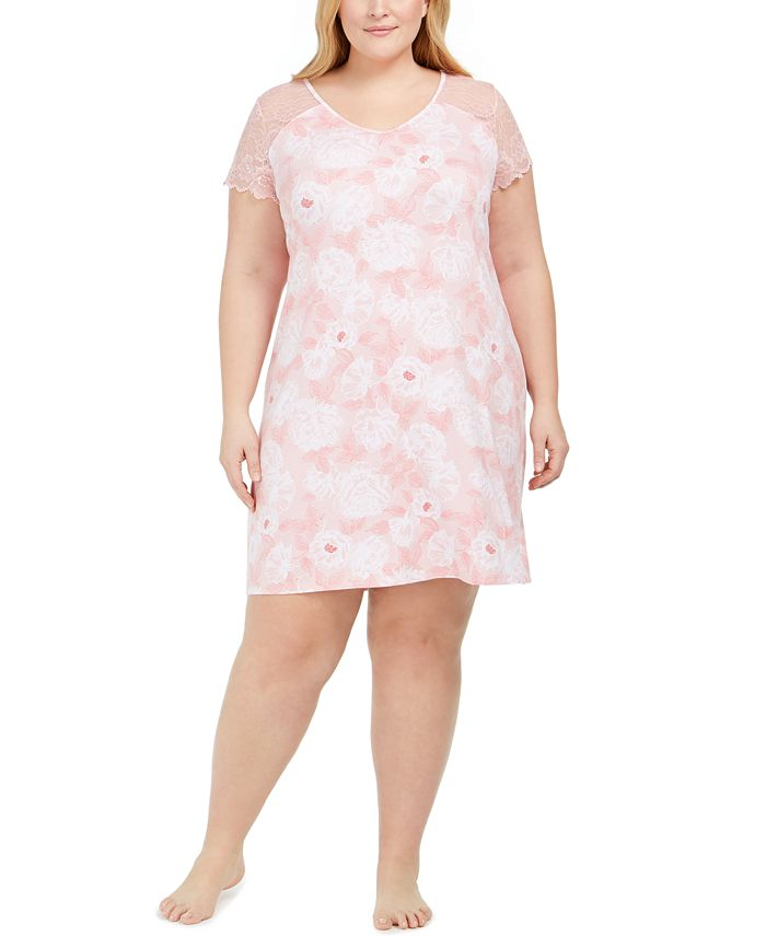 Charter Club - Plus Size Printed Lace Flutter Sleeve Chemise Nightgown