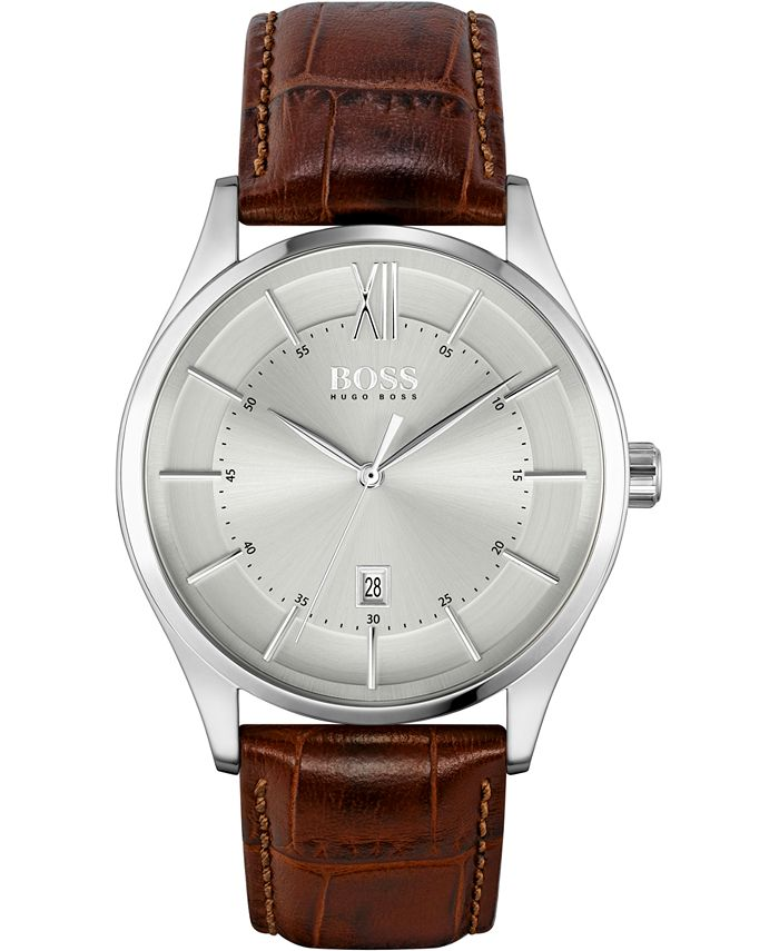 BOSS - Men's Distinction Brown Leather Strap Watch 42mm