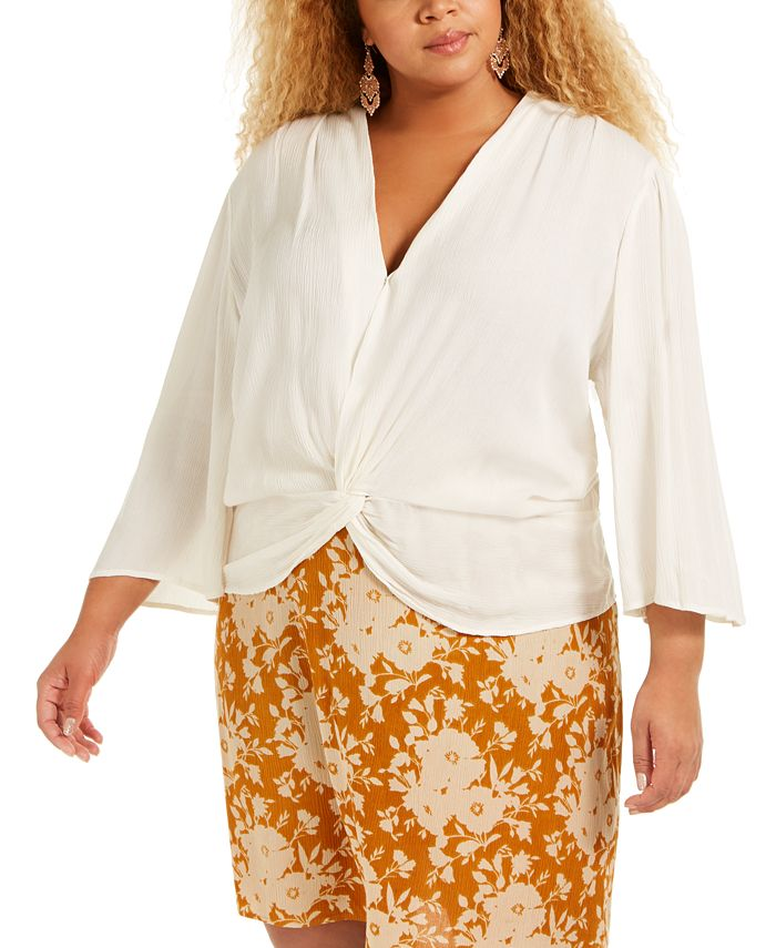 Band of Gypsies - Trendy Plus Size Twist-Front Top