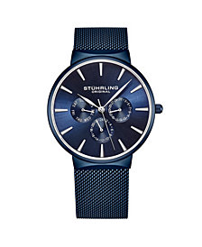 Stuhrling Men's Blue Mesh Stainless Steel Bracelet Watch 39mm