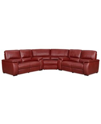 Marchella leather reclining sectional sofa 3 piece power for 3 piece sectional sofa with wedge
