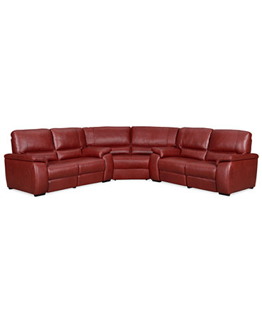 Marchella Leather Reclining Sectional Sofa 3 Piece Power