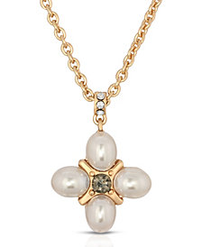 2028 Gold-Tone Imitation Pearl with Black Diamond Accent Pendant Necklace