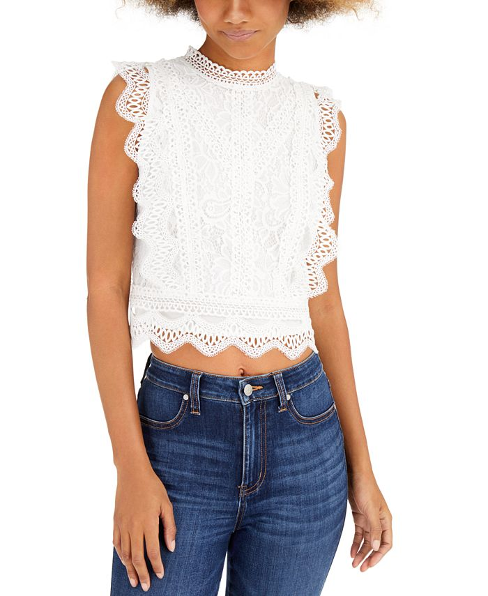 Lucy Paris - Sleeveless Lace Cropped Top
