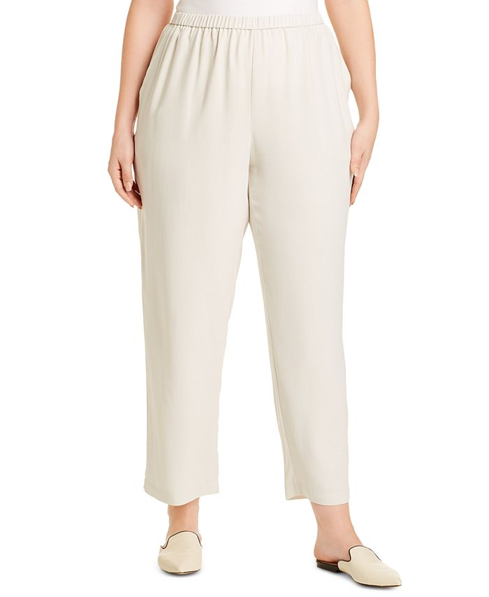 Eileen Fisher - Plus Size Straight-Fit Silk Pull-On Pants