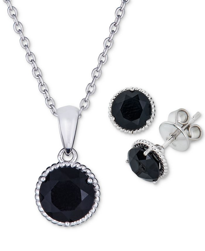 Macy's - 2-Pc. Set Onyx Pendant Necklace & Matching Stud Earrings in Sterling Silver