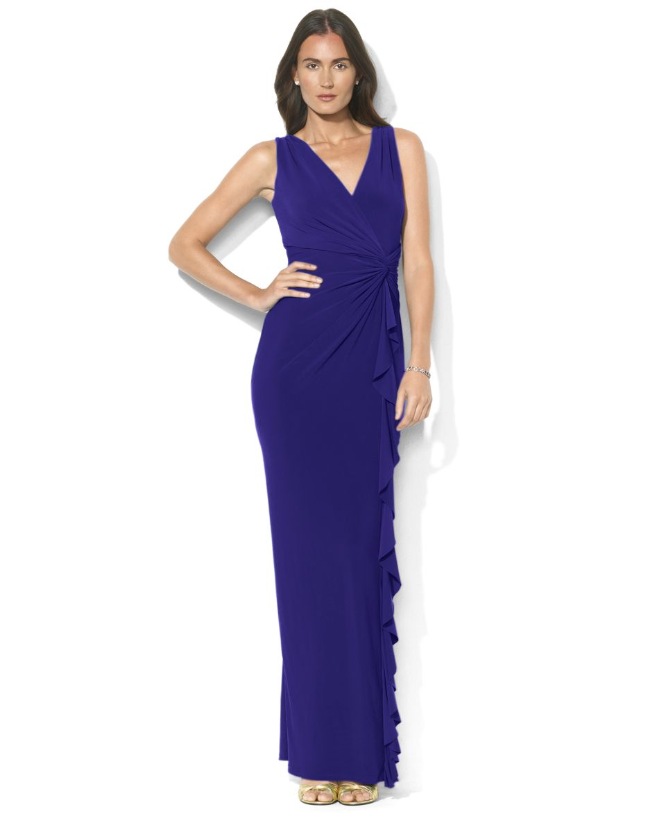 Lauren Ralph Lauren Petite Sleeveless Drape Neck Brooch Gown   Dresses   Women