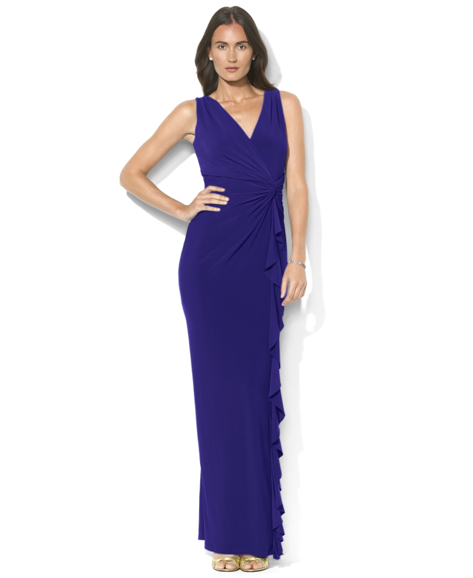 Lauren Ralph Lauren Petite Sleeveless Knotted Jersey Gown   Dresses   Women