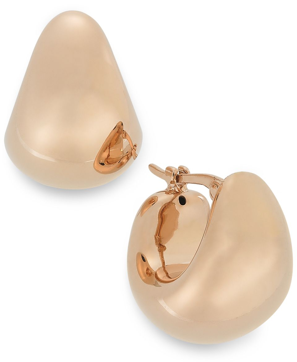 14k Rose Gold over Sterling Silver Earrings, Small Puff Hoops   Earrings   Jewelry & Watches
