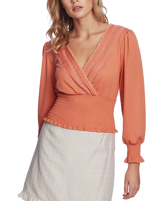 1.STATE - Smocked Lace-Trim Top