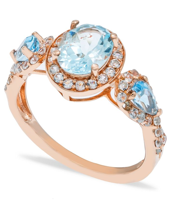 Macy's - Aquamarine (1-1/2 ct. t.w.) Diamond (1/2 ct.  t.w.) Ring in 14K Rose Gold