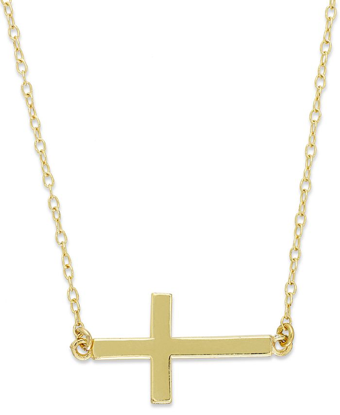 Giani Bernini - 18k Gold over Sterling Silver Necklace, Sideways Cross Pendant