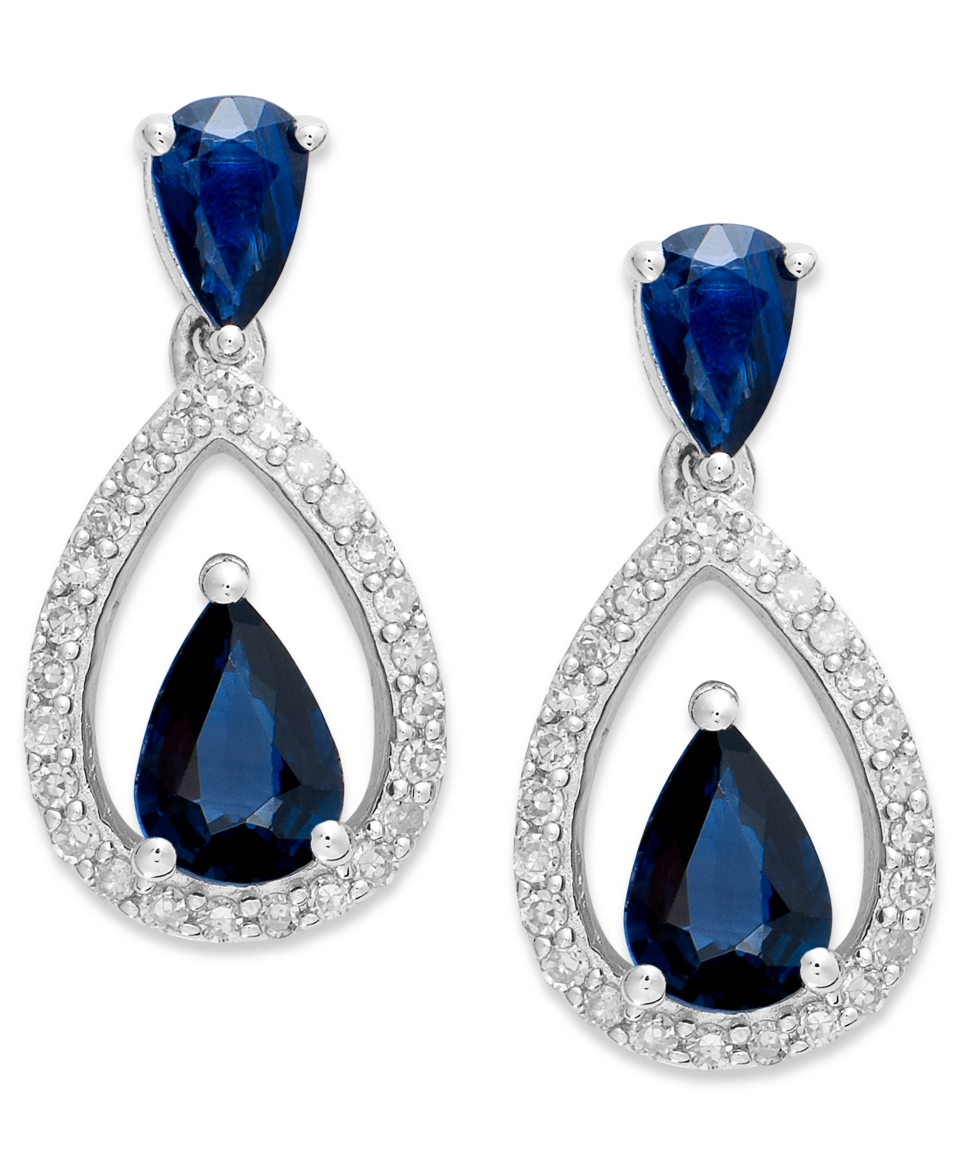 Sterling Silver Earrings, Sapphire (1 3/4 ct. t.w.) and Diamond (1/5 ct. t.w.) Pear Shaped Drop Earrings   Earrings   Jewelry & Watches