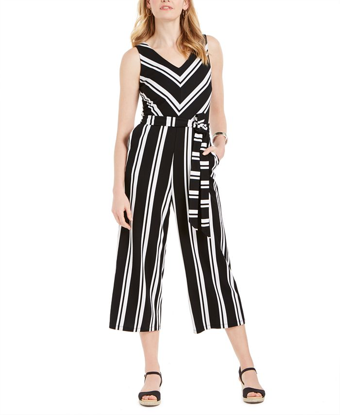 Charter Club - Striped Belted Jumpsuit