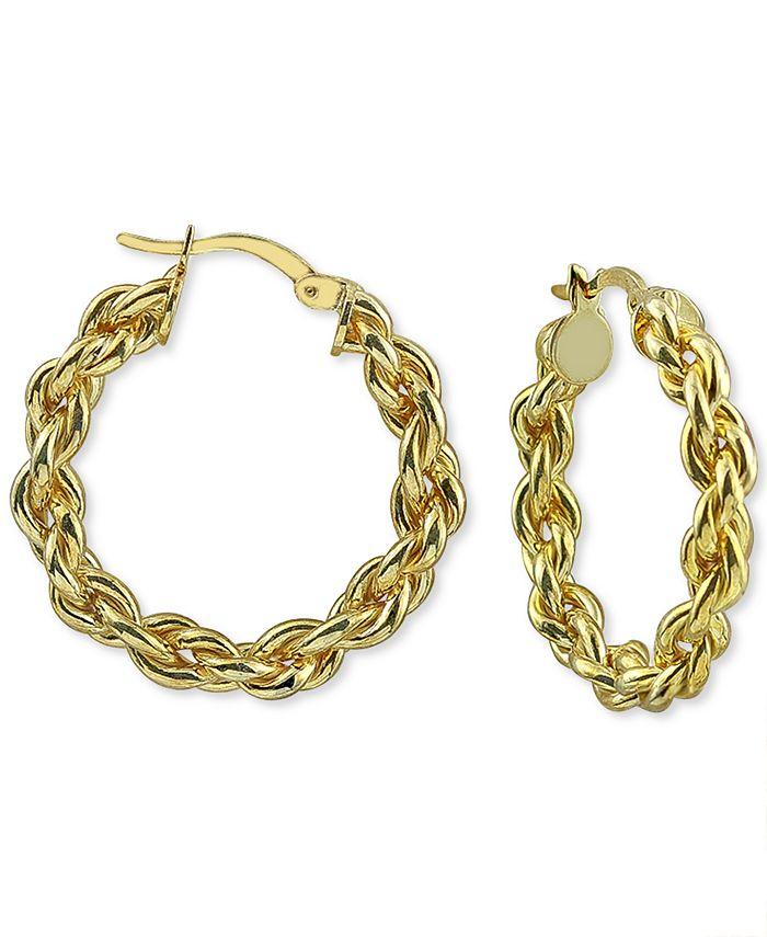 Argento Vivo - Medium Rope Hoop Earrings in 18k Gold-Plated Hoop Earrings, 1-1/4