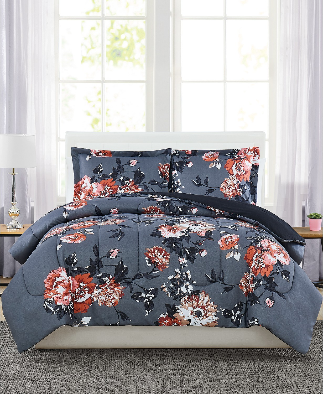 (69% OFF Deal) Manilla Floral King 3-Pc. Comforter Set $24.99